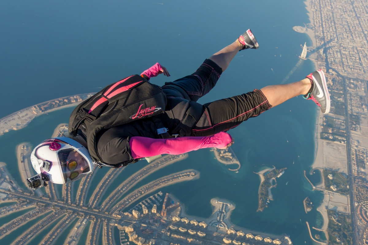 woman with black and pink Javelin Odyssey skydives in Dubai